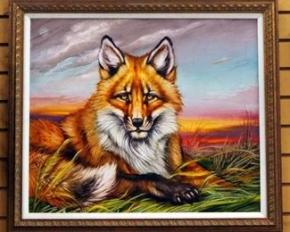 """Martin Katon """"North American Red Fox"""" Canvas Giclee, Signed By Artist, Framed, 27.75"""" Wide x 24"""" High"""