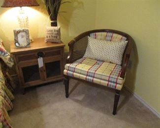 Tub shape Chair, Bed side Table (1 of Pair)
