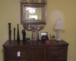 Dresser, Cut & Embossed Metal Framed Mirror