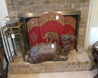 Large Ceramic Camel, Fire Screen with painted elephant