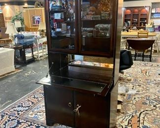 Mid Century Modern Mahogany Server/Bar with Beveled Glass Top Doors and Fold Down Mirrored Serving Area and Mirrored Back