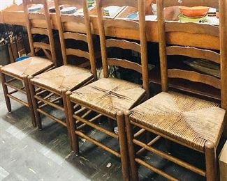 Rush Bottom Ladder Back Chairs  x4