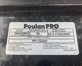 Poulan Pro Model PP175G42 in excellent used condition. Used only two seasons.