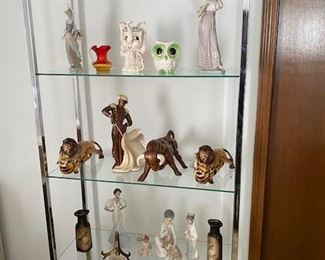 Collectibles, figurines and glass cabinet...