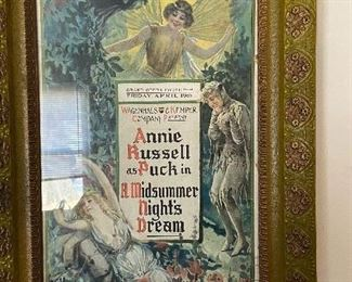 """Original framed """"1906"""" poster of """"A Midsummer Night's Dream"""" with Annie Russell as Puck """". Framed picture Measures 19 1/2"""" x 27 1/2"""". $95"""