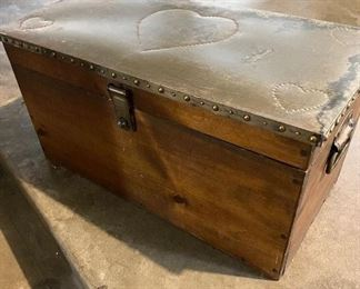 """Custom made wooden chest with iron hardware and punched tin top with hearts. Measures 28"""" wide x 14"""" tall x  14"""" depth,  (30 years old) $40"""