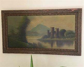 """Very old frame with castle oil painting. Measures 27 1/2"""" X 15 1/2"""". $15"""