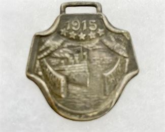 """Watch fob from """"World's Fair"""" 1915 in San Francisco, California. The Panama-Pacific International Exposition . Measures 1 1/2"""" wide and 1 1/2"""" length. $24"""