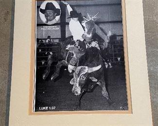 "Framed rodeo photo of ""Sam Minnick"" PRCA Bullrider. Measures 15"" x 17"" $15"