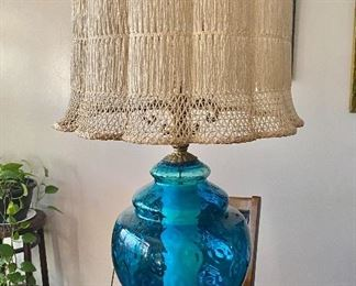 """Mid Century Modern """"Leviton"""" Lamp with shade. Beautiful blue glass with top and bottom lamp.$65"""