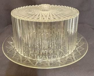 """Vintage acrylic lucite clear cake plate, diamond cut design, measures 14"""" round & 6 1/2"""" tall. No chips or cracks. $15"""
