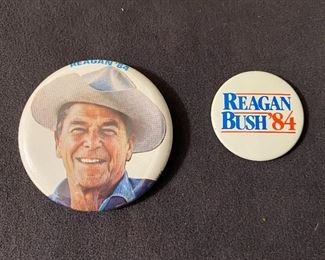 """Ronald Reagan 1984 campaign pinback button, measures 2 1/4"""" round, Reagan/Bush 84 campaign pinback button measures 1 1/2"""" round. Both for $14"""