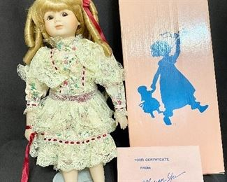 """1989 Marian Yu Design Co Porcelain Victorian Doll. Has original box and certificates. Barefoot with stand. Measures 16"""" tall. No chips or cracks, marked No 619/10,000. $25"""