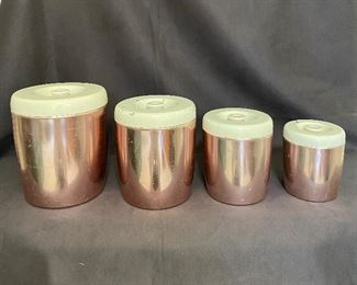 """""""West Bend"""" Mid Century Modern rose gold aluminum canister set. See additional photos for condition and close ups. $30"""
