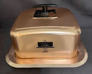 Vintage West Bend Copper Cake Carrier Aluminum Square with latch locks. $20