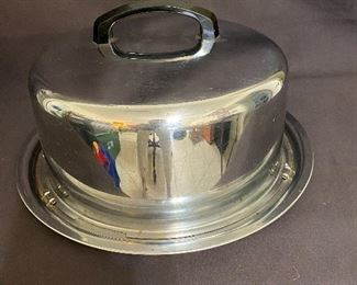 Vintage Cake Carrier with latch locks. Silver aluminum with black handle. $15