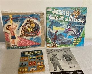 """""""1950's"""" children's items. LP's of That Doggie in the Window and Jonah's Tale of a Whale, project book and crochet book for children. $4"""