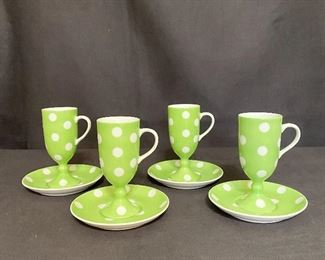 """Vintage """"Fritz and Floyd"""" Demitasse cups with  set of 4 saucers, marked """"FF"""". Green with white polka dots. No chips or cracks. (1970's-1980's) $34"""