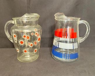 Mid Century Modern water pitchers. Pair $15