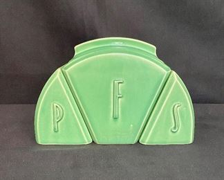 USA pottery green canister set. Fiesta style, flour, salt and pepper. Marked USA on bottom, No chips or cracks. Unusual set $30