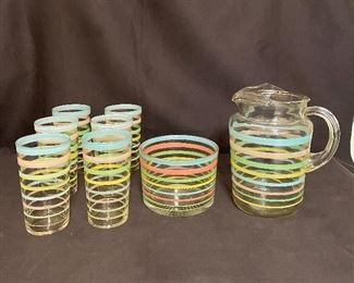 1960's Full drink set with ice bucket, tumblers and pitcher. No cracks or chips. $45