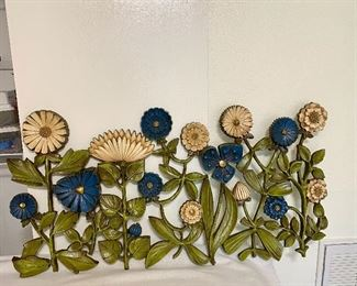 """Syroco Copyright """"1966"""" Flower Wall Hanging. Measures 41 1/2"""" wide and 20"""" tall. $80"""