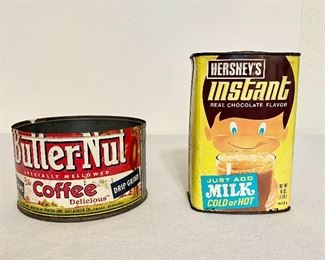 """""""Butter-Nut coffee tin and """"Hershey's Instant Milk"""" container. $15 (pair)"""