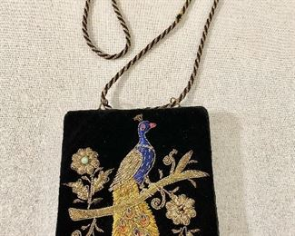 Vintage purse with beaded peacock. Very good condition. $15