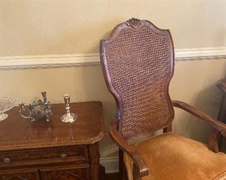 End tables and came back antique chair