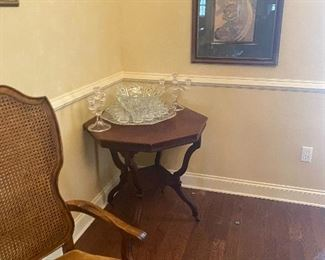 Large Christal Punchbowl on a antique hexagon table