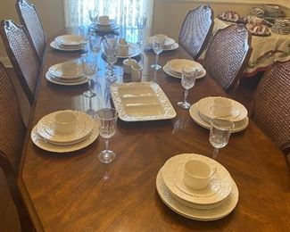 Mikasa fine China with Waterford goblets! Large elegant dining table that seats 10.