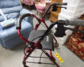 FOLDING WALKER W/WHEELS AND SEAT