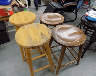 2 PR. OF WOOD STOOLS. 3 METAL SWIVEL STOOLS.
