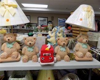BNEW BEAR LAMPS. SEVERAL NEW SMALL LAMP SHADES
