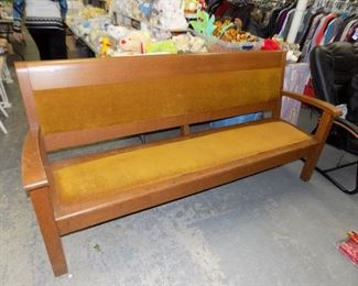 6 FT. OAK DEPOT BENCH FROM SAGINAW, MICHIGAN