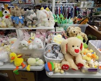 TABLES OF NEW PLUSH ANIMALS!! EASTER BUNNIES, DUCKS, DOGS, BEARS....