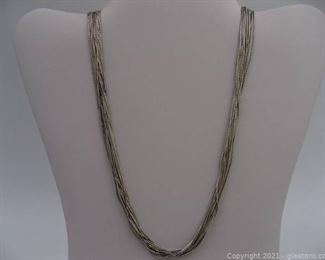 Multi Strand Liquid Silver Necklace