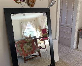 Large Black Wood Frame Mirror.