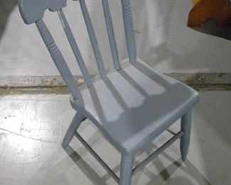 Blue Wooden Side Chair