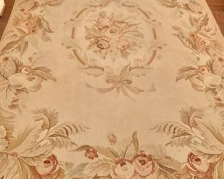 $350 - Ballard Designs Aubusson style cotton and wool rug; 9' x 5'9""