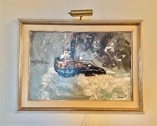 "$1,750 -  Framed oil on canvas.  ""Brest Harbor, France""  Signed C. Lacoudre '66; impressionistic study of tugboat at sea, (includes light); 33.5"" H x 45.5"" W"