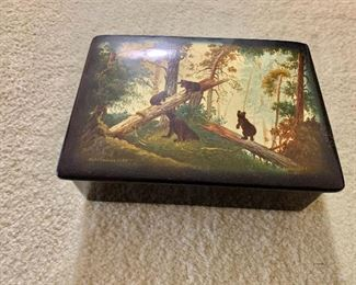 "$80 - Palekh box with bears, hand painted in USSR and dated 1973; 6"" W x 4.5"" D x 2"" H"