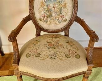 "$295 - Louis XVI style needlepoint arm chair; 38.5"" H x 24"" W x 24"" D, seat height approx 18"""
