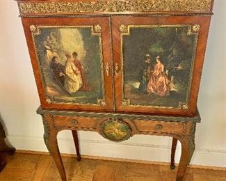 "$2,500 - Louis XV style collector's cabinet with marble top and brass gallery - 2 hand painted cabinet doors -  48.5"" x 31"" W x 14.5"" D"