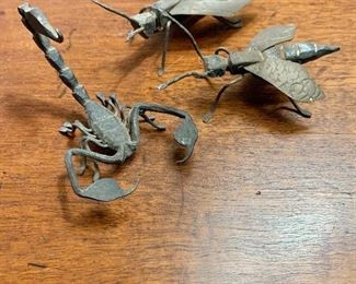 "$75 - Group of 3 vintage metal insects. One wasp has a pin affixed to the back and is approximately 3"" long and 1.5"" wide."
