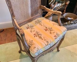 "$175 - Vintage cane armchair with floral damask cushion, AS IS - 37.5"" H x 24"" W x 21"" D, seat height is approx 17"""
