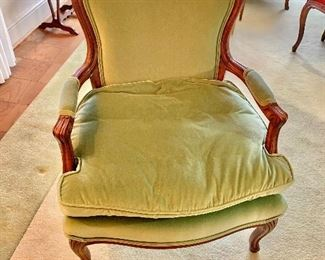 "$225 - Vintage Louis XV style velour arm chair with  feather filled cushion; 34.5"" H x 28"" W x 28"" D, seat height approx 15"""