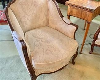 "$295 - Louis XV style Bergère chair with ivory custom upholstery and foam cushion; 36"" H x 28"" W x 30"" D, seat height approx 17"""