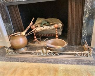 "$125 - Fireplace fender: 54"" wide x 14"" deep; $95 - copper coal scuttle: 14"" H x 11"" W;$95 -  copper basin with handles: 14"" diameter; $150 - andirons: 11"" H"