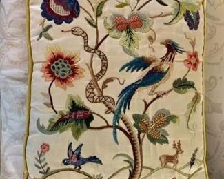 "$125 - Embroidered pillow #1 with bird and snake; 17.5"" x 24"""